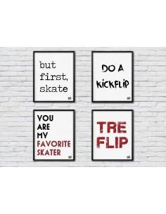 Pack de 4 ilustraciones fans skateboarding idea regalo