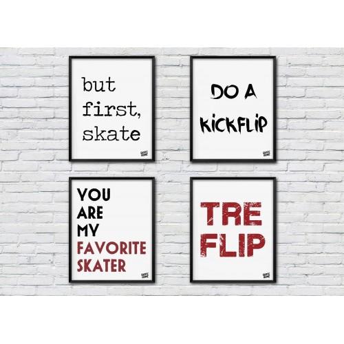 Pack of 4 fans illustrations skateboarding gift idea