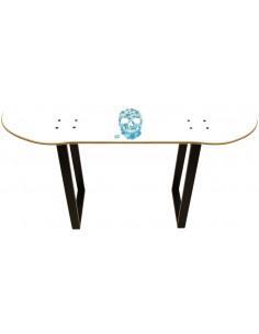 Skateboard Hocker - White Skull