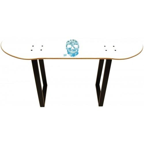 Skateboard Taburete - White Skull