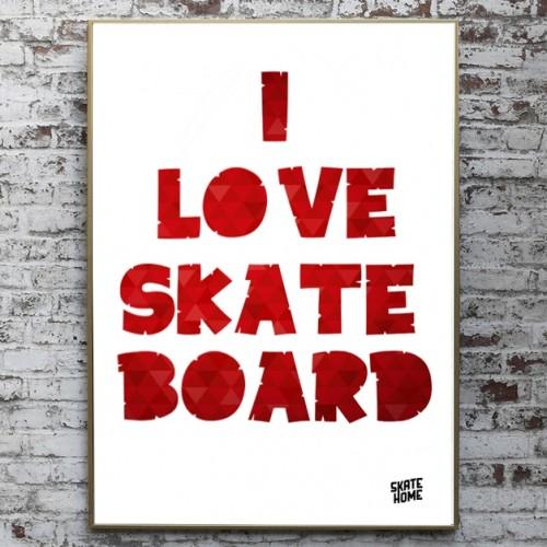 skateboard Ilustracion - I love skateboard