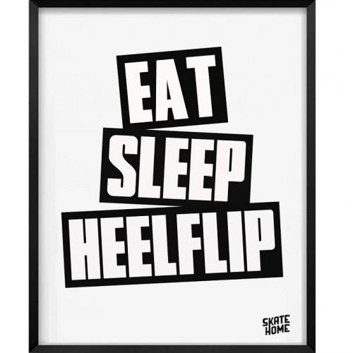 Skateboard Illustration - Eat Sleep Heelflip