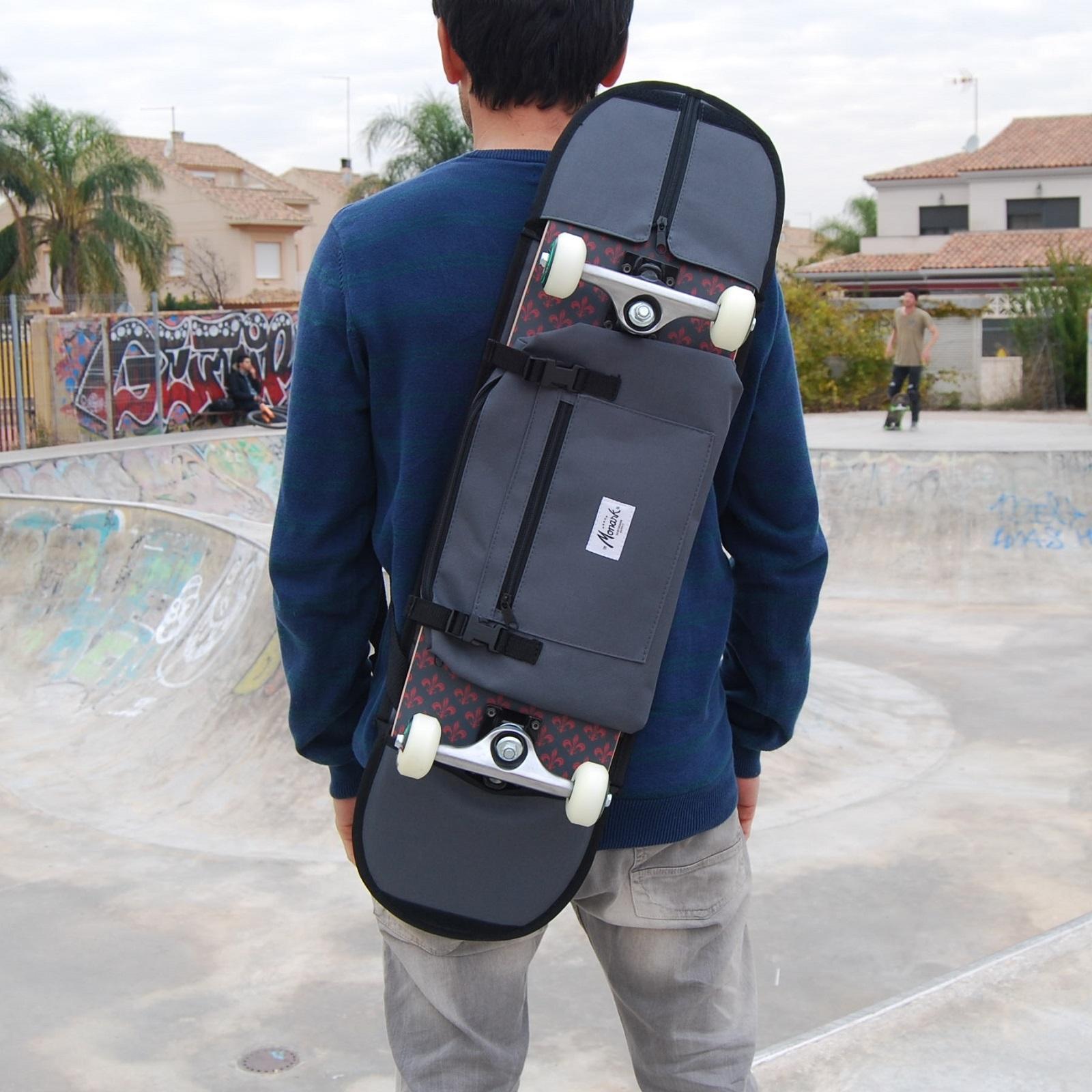 Backpack, shoulder bag and fanny pack skateboard