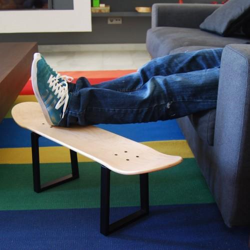 No comply Skateboard Hocker mit Metal Beinen und originelle Skateboard Deck, natürlichen holz