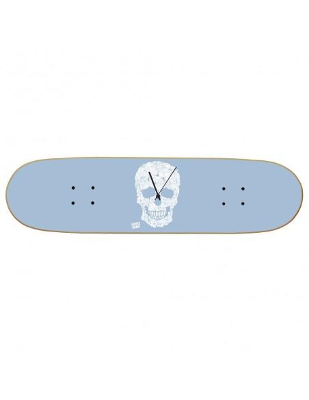 Skateboard Wall Clock Boneless - Floral Skull