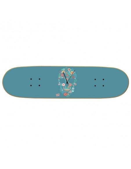 Skateboard Wall Clock Boneless - Flower Skull