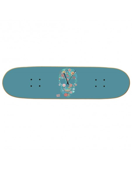 Skateboard Wanduhr Boneless - Flower Skull