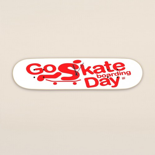 Go Skateboarding Day, Wanduhr Weiß
