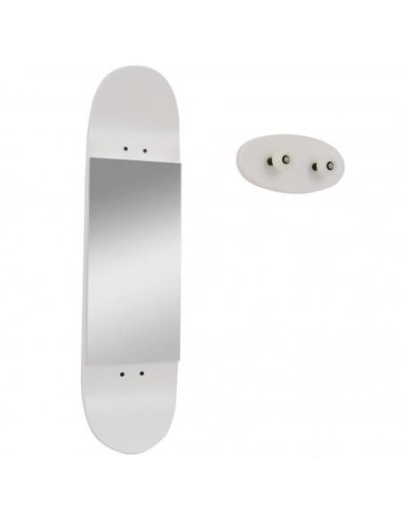 skateboard Miroir et porte manteau, blanc