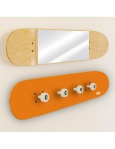 Garderobenständer und Spiegel Skateboard, Orange