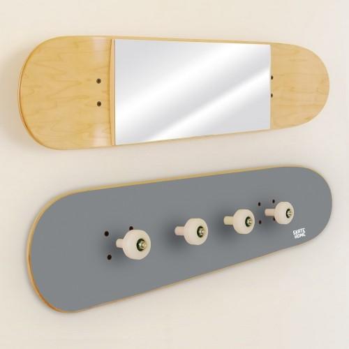 Garderobenständer und Spiegel Skateboard, Grau