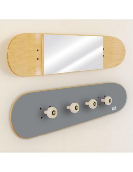 Porte-manteau et Miroir Skateboard, Gris