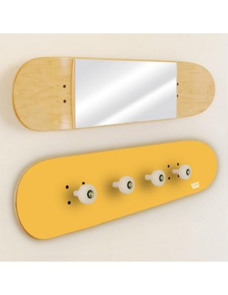 Porte-manteau et Miroir Skateboard, Jaune