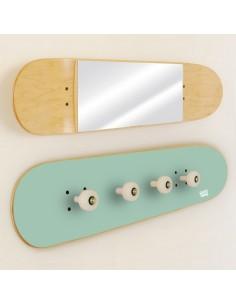 Garderobenständer und Spiegel Skateboard, Minze