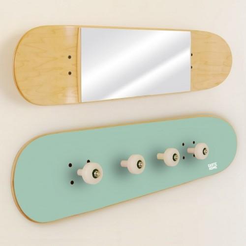 Porte-manteau et Miroir Skateboard, Menthe