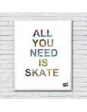 Skateboard illustration gift skater
