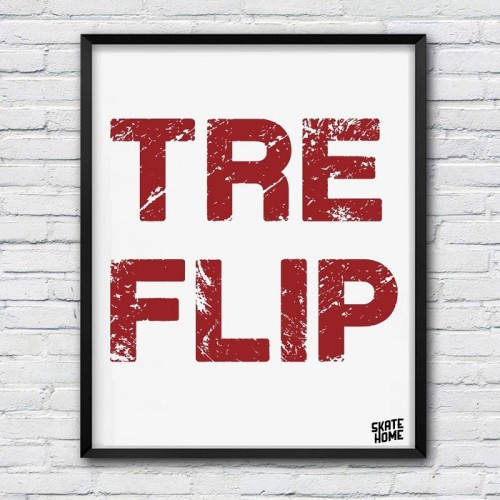 illustration skateboard Tre Flip