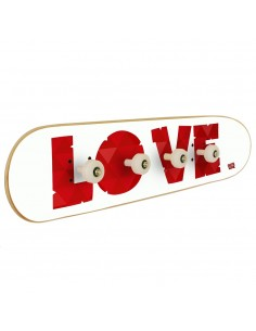 Skateboard wall coat rack with the word: LOVE