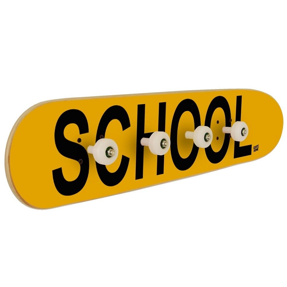 Coat rack on skateboard, with the word SCHOOL