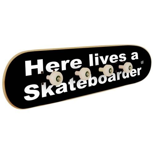 Wall Skateboard Coat Rack - Here lives a skateboarder