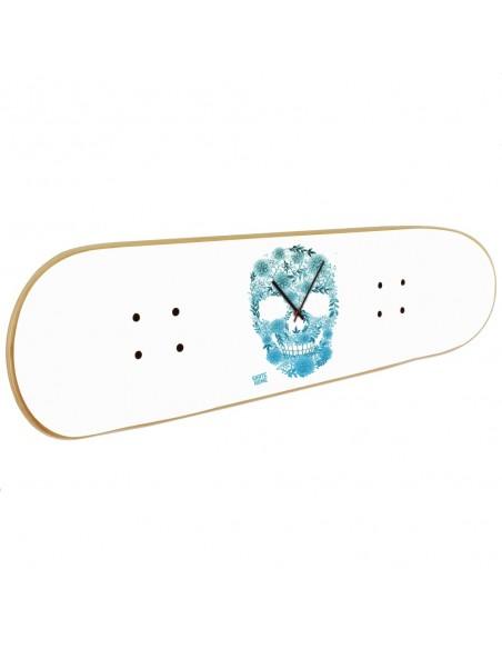 Skateboard Wanduhr Boneless - White Skull