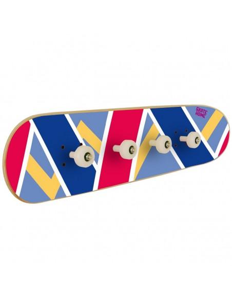 Skateboard porte-manteau Olliepops - bleu et rouge - Cadeau de décoration pour un ami skater
