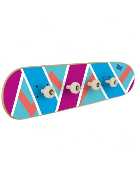 Skateboard porte-manteau Olliepops - Bleu et violet - Porte-manteau spécial pour skater