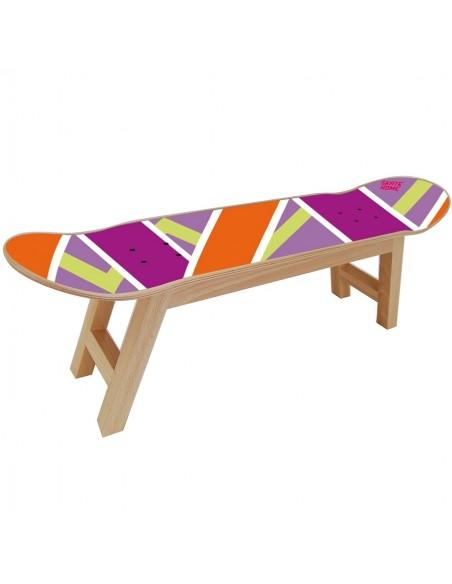 Skateboard Tabouret Olliepops - Violet et orange - Skate décoration à thème
