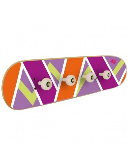 Skateboard porte-manteau Olliepops - Violet et orange - Cadeau que tous les skaters veulent
