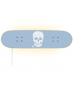 Skateboard Lampe - Floral Skull für eine Skater Dekoration.